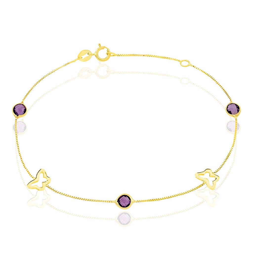Bracelet Or Jaune Amethyste - Bracelets Papillon Femme   Histoire d'Or