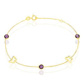 Bracelet Or Jaune Amethyste - Bracelets Papillon Femme | Histoire d'Or