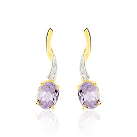 Boucles D'oreilles Pendantes Or Jaune Amethyste Et Diamant - Boucles d'Oreilles Coeur Femme | Histoire d'Or