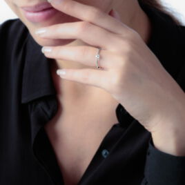 Bague Solitaire Natalia Or Rose Diamant - Bagues avec pierre Femme   Histoire d'Or