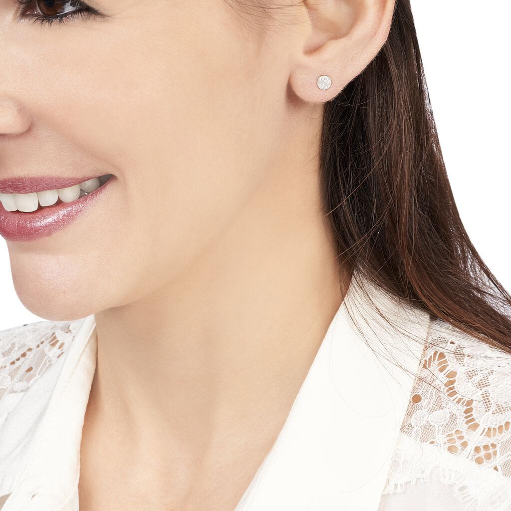 Boucles D'oreilles Puces Teani Or Blanc Diamant - Clous d'oreilles Femme   Histoire d'Or