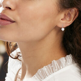 Boucles D'oreilles Pendantes Bo Coeur Pm Or Blanc Oxyde De Zirconium - Boucles d'Oreilles Coeur Femme | Histoire d'Or