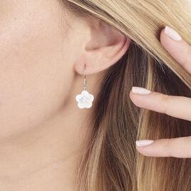 Boucles D'oreilles Pendantes Harione Argent Blanc Céramique Et Oxyde - Boucles d'oreilles fantaisie Femme | Histoire d'Or