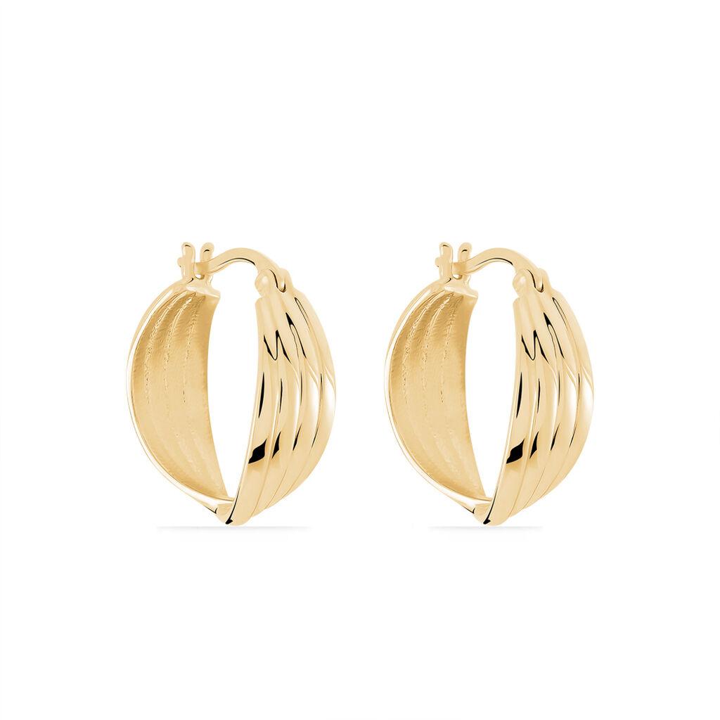 Créoles Kuma Plaque Or Jaune - Boucles d'oreilles créoles Femme | Histoire d'Or