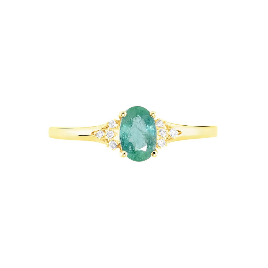 Bague Marie Or Jaune Emeraude Et Diamant - Bagues avec pierre Femme   Histoire d'Or