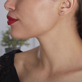 Boucles D'oreilles Puces Jannea Argent Rose Oxyde De Zirconium - Boucles d'oreilles fantaisie Femme   Histoire d'Or