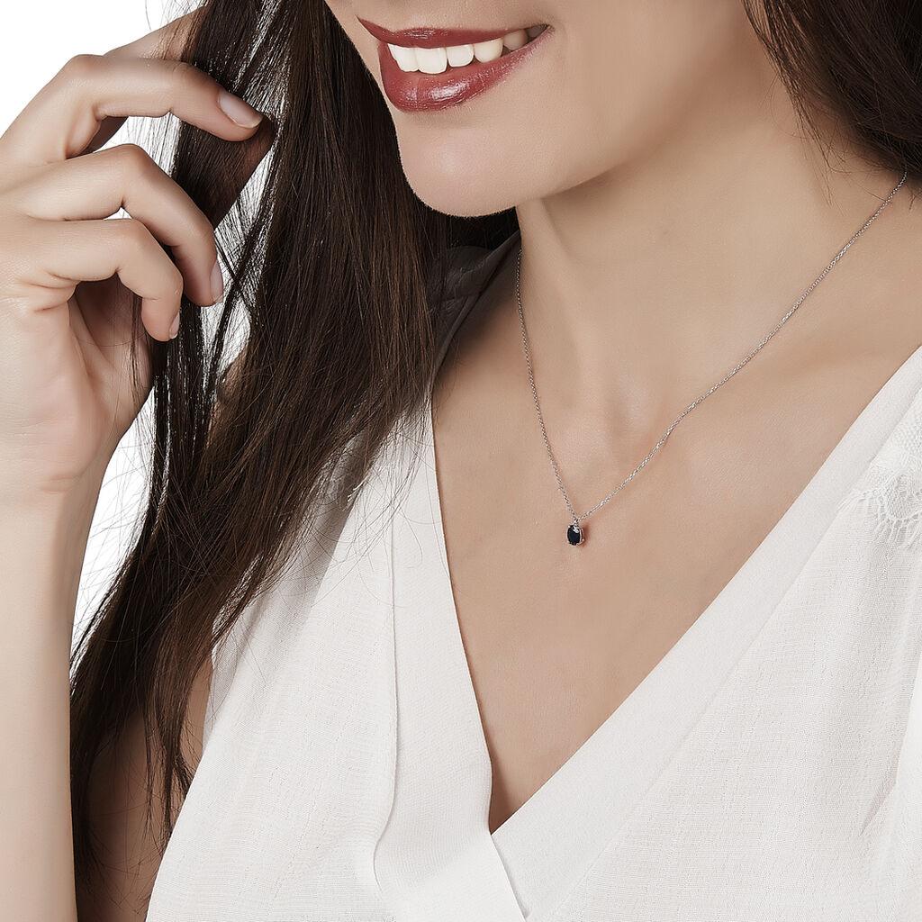 Collier Ovale Or Blanc Saphir - Bijoux Femme | Histoire d'Or