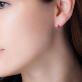 Boucles D'oreilles Puces Nicole Or Jaune Diamant Et Rubis - Clous d'oreilles Femme   Histoire d'Or