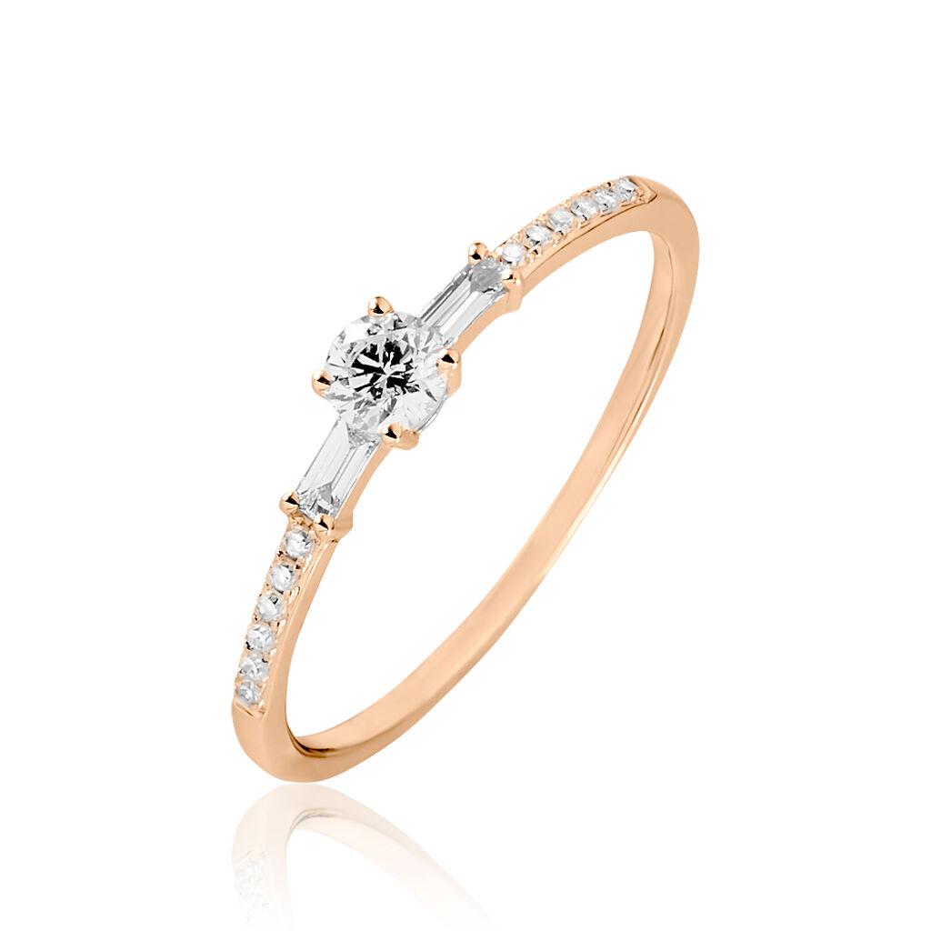 Bague Solitaire Nina Or Rose Diamant - Bagues avec pierre Femme   Histoire d'Or