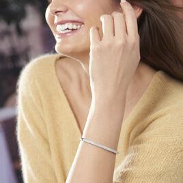 Bracelet Jonc Clélya Argent Blanc Oxyde De Zirconium - Bracelets joncs Femme | Histoire d'Or