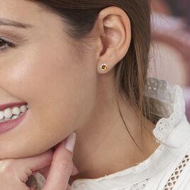 Boucles D'oreilles Puces Joude Argent Blanc Ambre - Boucles d'oreilles fantaisie Femme | Histoire d'Or