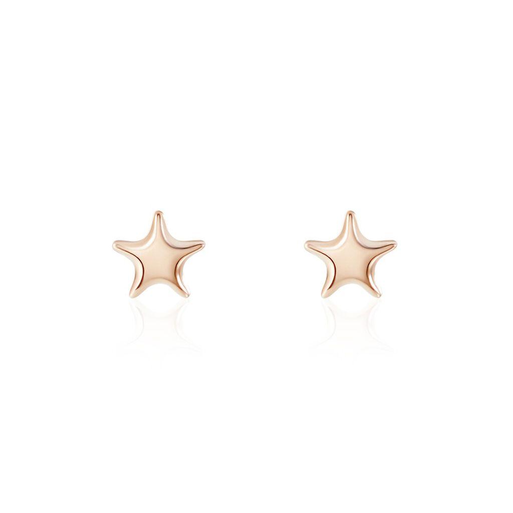 Boucles D'oreilles Puces Or Rose Lison Alphonsine - Boucles d'Oreilles Etoile Famille | Histoire d'Or