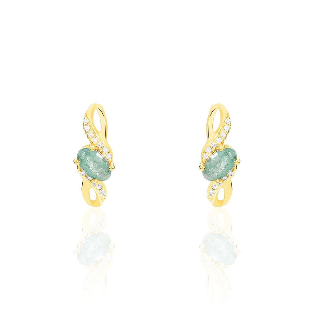Boucles D'oreilles Puces Or Jaune Emeraude Et Diamant - Clous d'oreilles Femme | Histoire d'Or