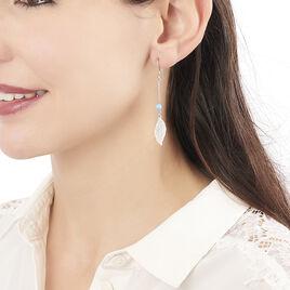 Boucles D'oreilles Pendantes Alona Argent Blanc - Boucles d'Oreilles Plume Femme | Histoire d'Or