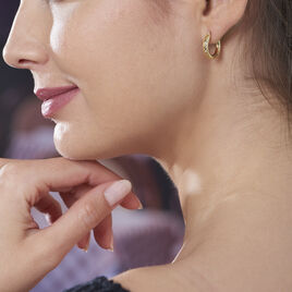 Créoles Cleanne Diamantees Fil Rond Or Jaune - Boucles d'oreilles créoles Femme   Histoire d'Or