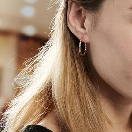 Créoles Adyson Effet Perle Argent Rose - Boucles d'oreilles créoles Femme | Histoire d'Or