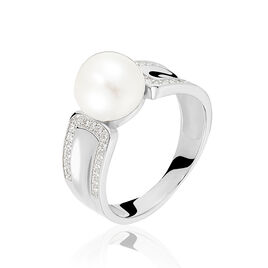 Bague Argent Blanc Perle De Culture Et Oxyde De Zirconium - Bagues avec pierre Femme | Histoire d'Or