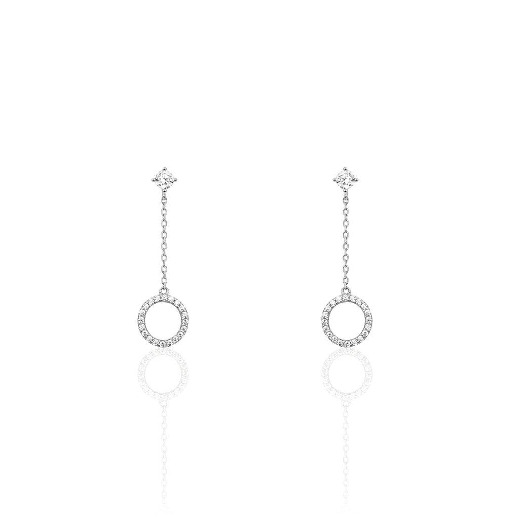 Boucles D'oreilles Pendantes Lim Or Blanc Oxyde De Zirconium - Boucles d'oreilles pendantes Femme | Histoire d'Or