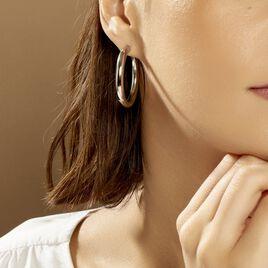 Créoles Amael Acier Blanc - Boucles d'oreilles créoles Femme | Histoire d'Or