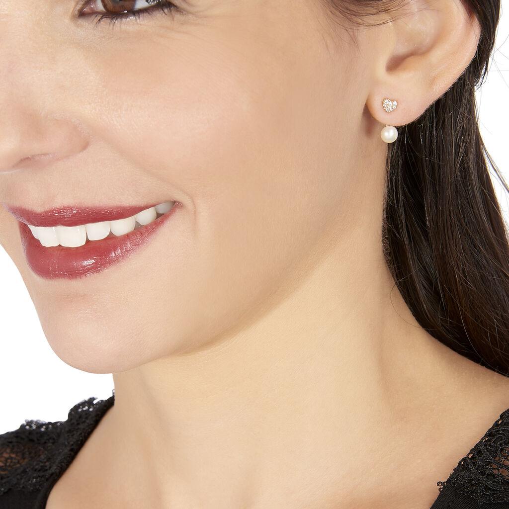 Bijoux D'oreilles Else Or Jaune Perle De Culture Et Oxyde De Zirconium - Boucles d'Oreilles Coeur Femme   Histoire d'Or