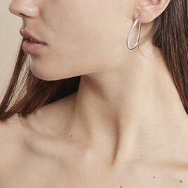 Créoles Olivia Vrillé Fil Triangle Argent Blanc - Boucles d'oreilles créoles Femme | Histoire d'Or
