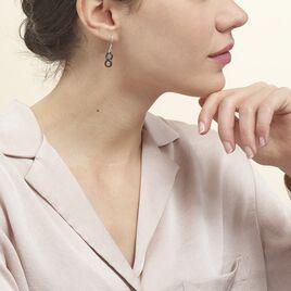 Boucles D'oreilles Pendantes Alicia Argent Blanc Céramique - Boucles d'Oreilles Infini Femme | Histoire d'Or