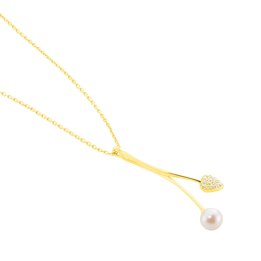 Collier Lucija Or Jaune Perle De Culture Et Oxyde De Zirconium - Colliers Coeur Femme | Histoire d'Or