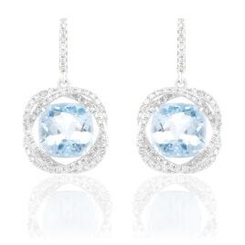 Boucles D'oreilles Puces Marie-jacqueline Or Blanc Topaze Et Diamant - Boucles d'oreilles pendantes Femme | Histoire d'Or