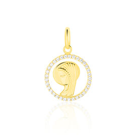 Pendentif Vierge Rond Diamante Or Jaune Oxyde De Zirconium - Bijoux Vierge Unisexe | Histoire d'Or