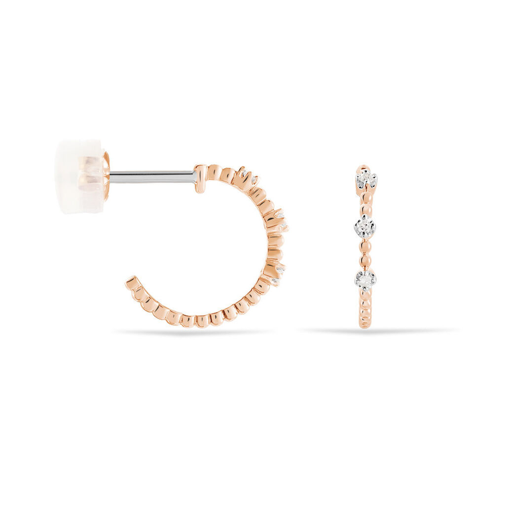 Créoles Aulde Rondes Or Rose Diamant - Boucles d'oreilles créoles Femme | Histoire d'Or