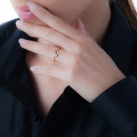 Bague Dieneba Plaque Or Jaune Oxyde De Zirconium - Bagues Coeur Femme | Histoire d'Or