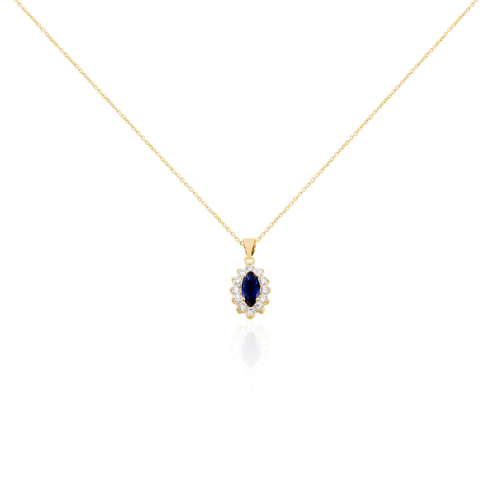 Collier Lisea Plaque Or Jaune Verre Et Oxyde De Zirconium - Colliers fantaisie Femme | Histoire d'Or
