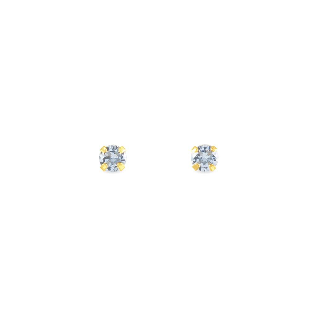 Boucles D'oreilles Puces Elea Serti Griffe Or Jaune Topaze - Clous d'oreilles Femme   Histoire d'Or