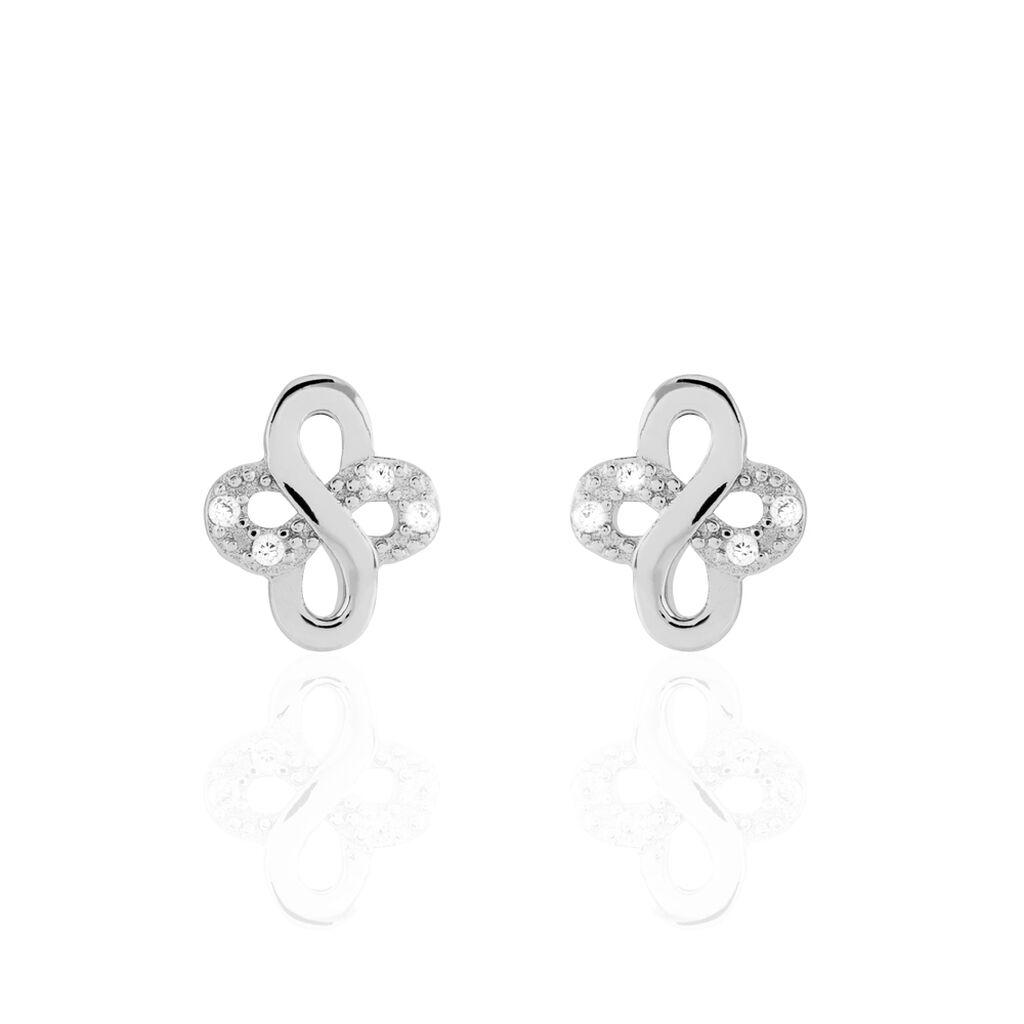 Boucles D'oreilles Puces Guillemette Argent Blanc Oxyde De Zirconium - Boucles d'Oreilles Croix Femme   Histoire d'Or