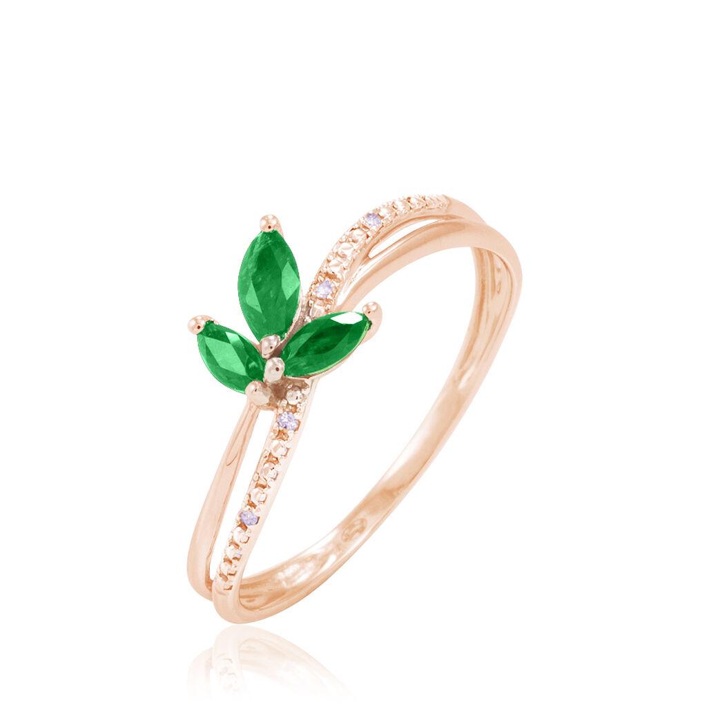 Bague Maura Or Rose Emeraude Et Diamant - Bagues avec pierre Femme   Histoire d'Or