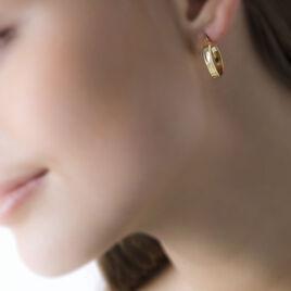 Créoles Telya Lisses Fil Carre Or Jaune - Boucles d'oreilles créoles Femme   Histoire d'Or
