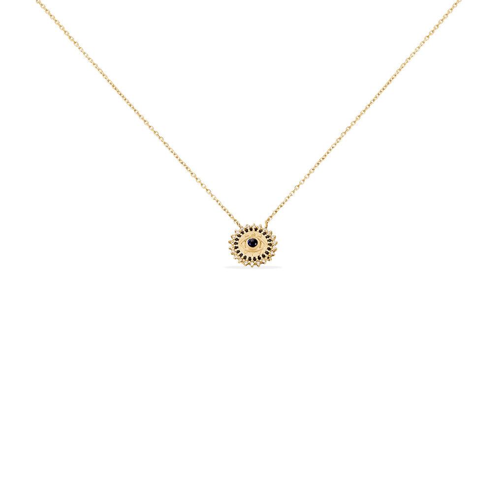 Collier Asterina Plaque Or Pierre De Synthese Olivine Et Oxyde - Bijoux Femme   Histoire d'Or