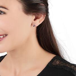 Boucles D'oreilles Puces Oria Or Blanc Saphir Et Diamant - Clous d'oreilles Femme | Histoire d'Or