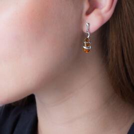 Boucles D'oreilles Pendantes Melusine Argent Blanc Ambre - Boucles d'oreilles fantaisie Femme   Histoire d'Or