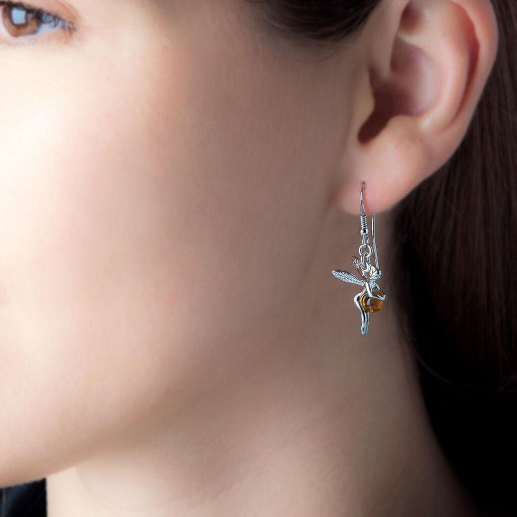 Boucles D'oreilles Pendantes Abellia Argent Blanc Ambre - Boucles d'oreilles fantaisie Femme | Histoire d'Or