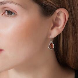 Boucles D'oreilles Argent Goutte Ambre - Boucles d'oreilles fantaisie Femme | Histoire d'Or