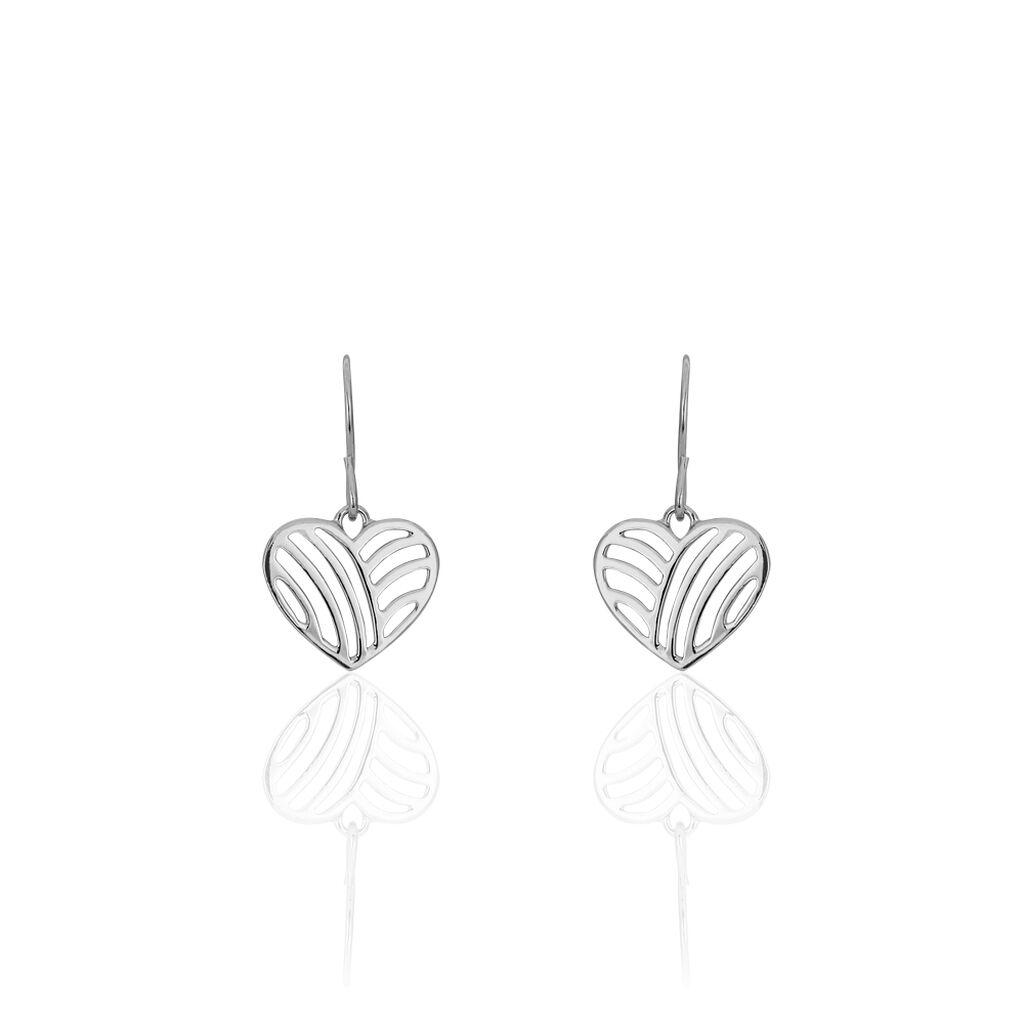 Boucles D'oreilles Pendantes Argent Blanc - Boucles d'Oreilles Coeur Femme | Histoire d'Or