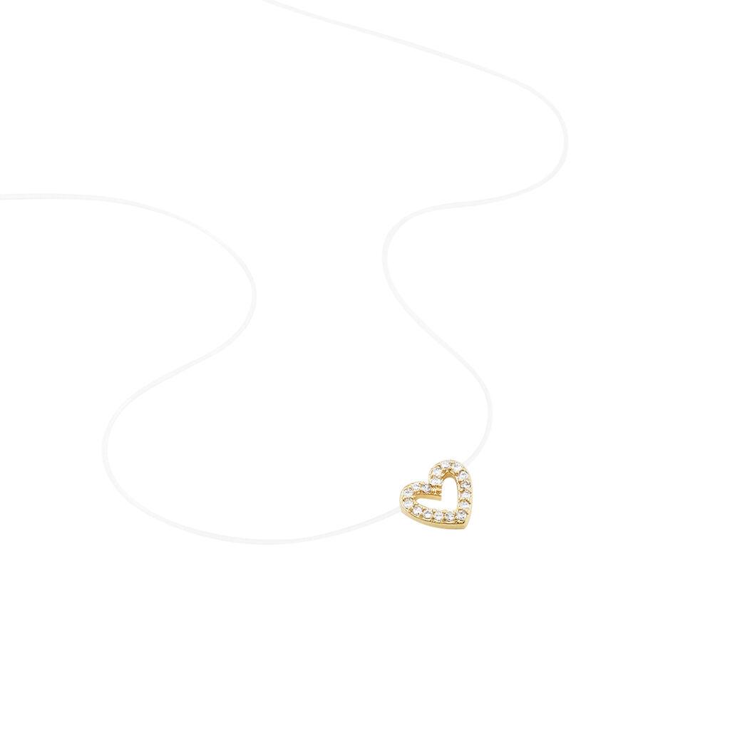 Collier Benoît Plaque Or Jaune Oxyde De Zirconium - Colliers Coeur Femme | Histoire d'Or