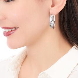 Créoles Eglea Ovale Fil Plat Diamanté Argent Blanc - Boucles d'oreilles créoles Femme | Histoire d'Or
