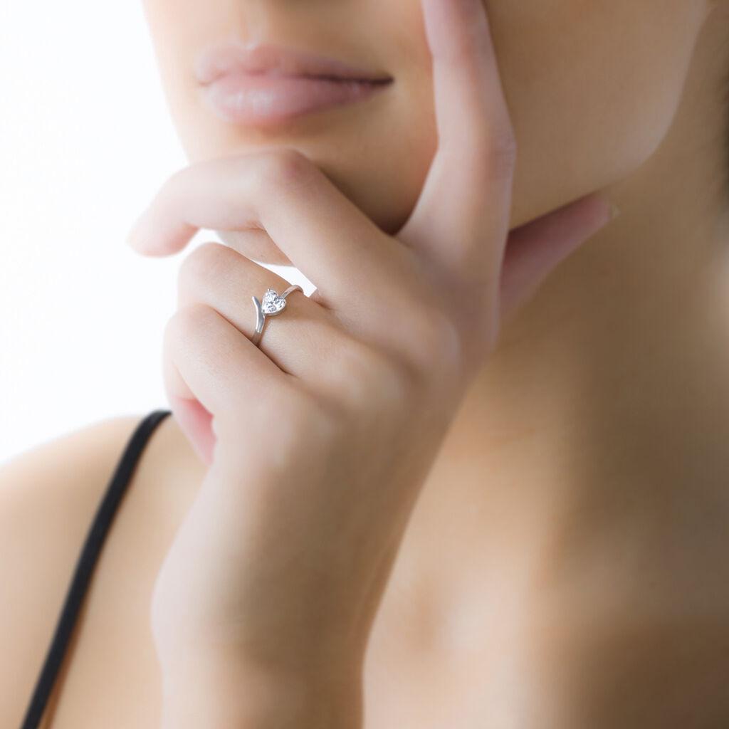 Bague Valeriana Or Blanc Oxyde De Zirconium - Bagues Coeur Femme   Histoire d'Or