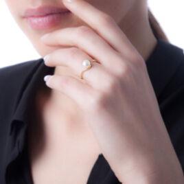 Bague Anais Or Jaune Perle De Culture Et Oxyde De Zirconium - Bagues avec pierre Femme   Histoire d'Or