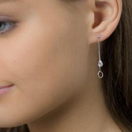 Boucles D'oreilles Pendantes Goutte Empierre Or Blanc Oxyde - Boucles d'oreilles pendantes Femme | Histoire d'Or