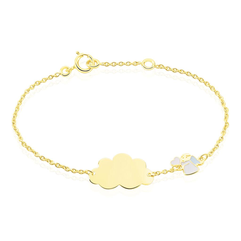 Bracelet Identité Ange Email Or Jaune - Bracelets Communion Enfant | Histoire d'Or