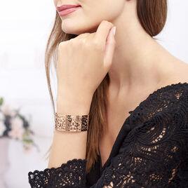 Manchette Acier Rose Fleurs Ajourees - Bracelets fantaisie Femme   Histoire d'Or