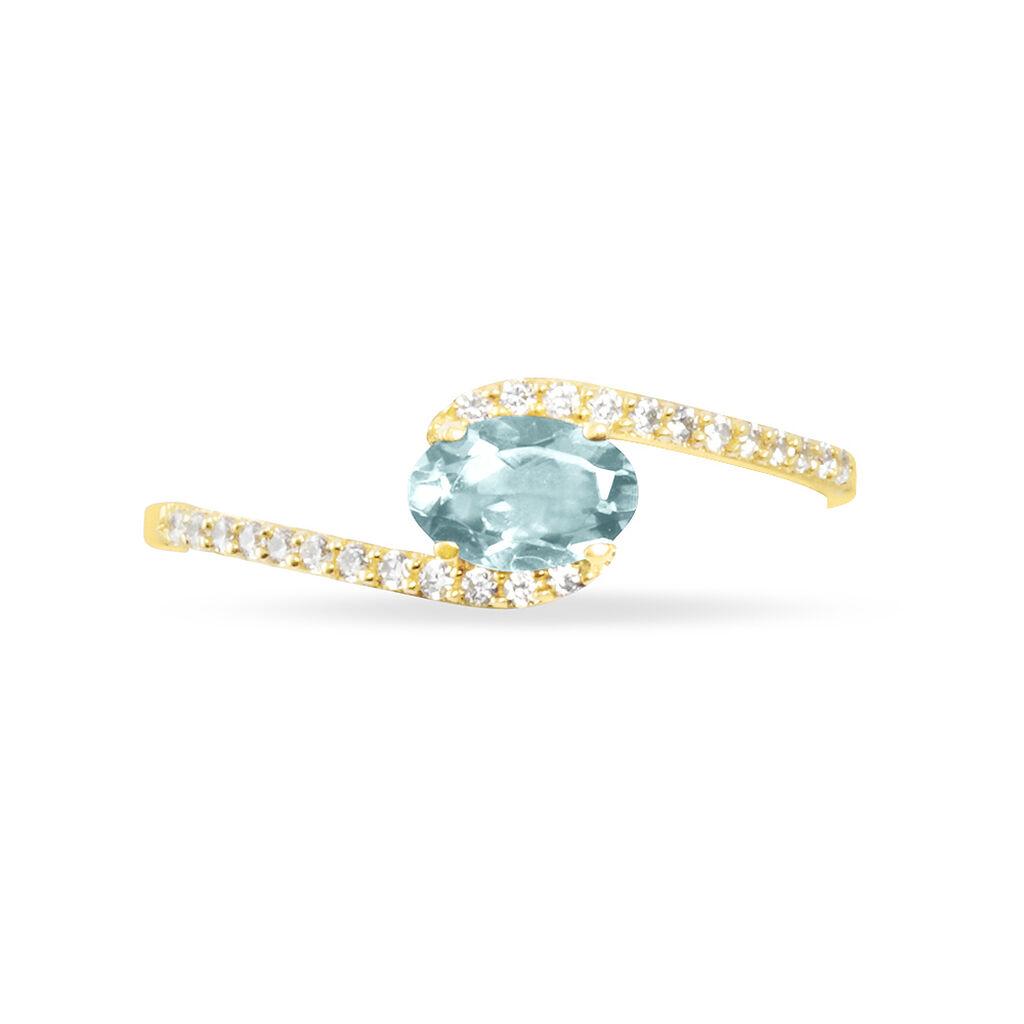Bague Loriane Or Jaune Aigue Marine Et Diamant - Bagues avec pierre Femme   Histoire d'Or